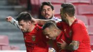 Pizzi festeja com Seferovic, Everton e Gabriel o 2-0 no Benfica-Rio Ave (António Cotrim/LUSA)