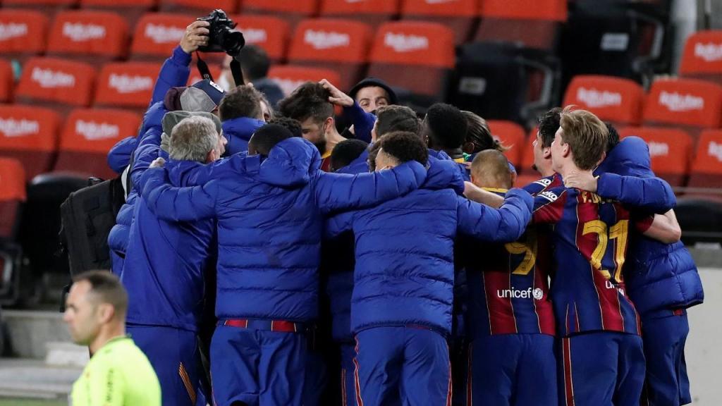 Barça festeja qualificação para a final da Taça do Rei