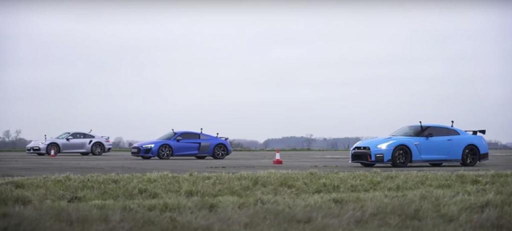 911 Turbo S, R8 e GT-R Nismo em 'drag race' (reprodução YouTube «Carwow»)