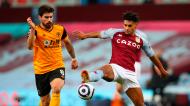 Rúben Neves e Ollie Watkins no Aston Villa-Wolverhampton (Catherine Ivill/EPA)