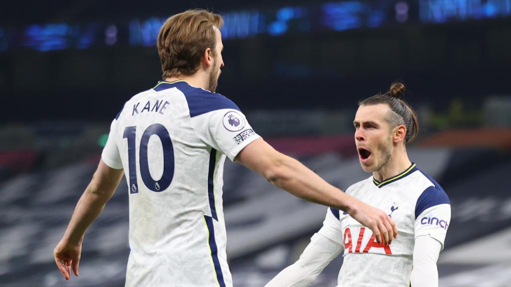 Gareth Bale e Harry Kane fabricaram o 2-1 do Tottenham ante o Crystal Palace (Julian Finney/EPA)