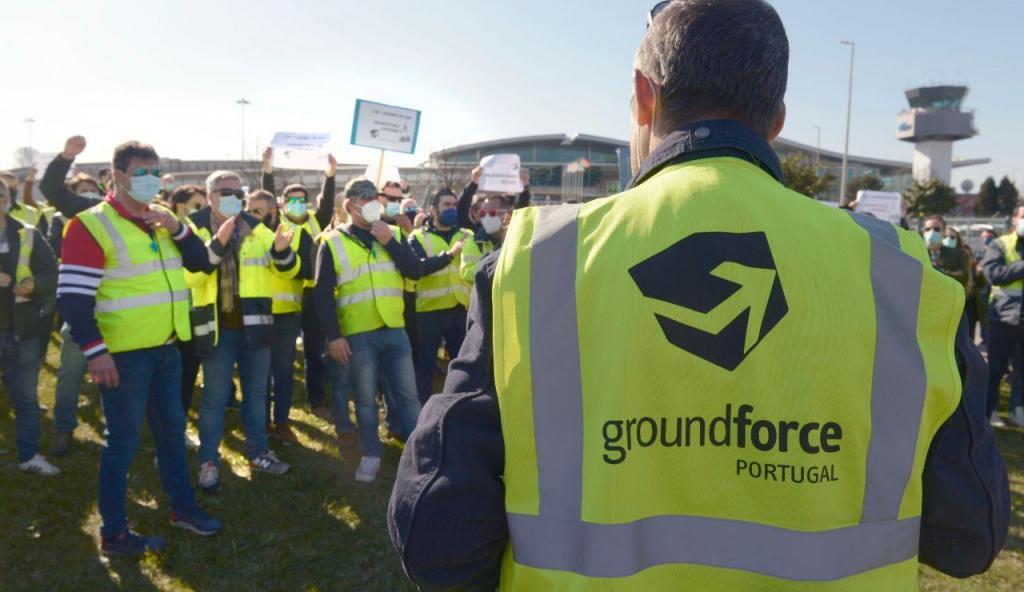 Manifestação dos trabalhadores da Groundforce