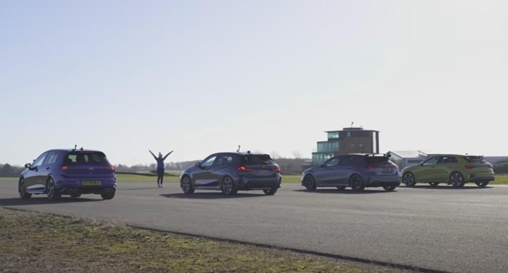 Drag race Golf R  vs Audi S3, BMW M135i e AMG A35 (Reprodução Youtube Carwow)