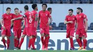 Gil Vicente festeja um dos golos da vitória ante o V. Guimarães (Hugo Delgado/LUSA)