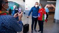 Selecionador de andebol, Paulo Jorge Pereira, na chegada de Portugal a Lisboa após o apuramento para os Jogos Olímpicos (José Sena Goulão/LUSA)
