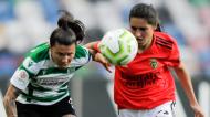 Ana Borges e Kika Nazareth na final da Taça da Liga feminina entre Sporting e Benfica (Paulo Cunha/LUSA)