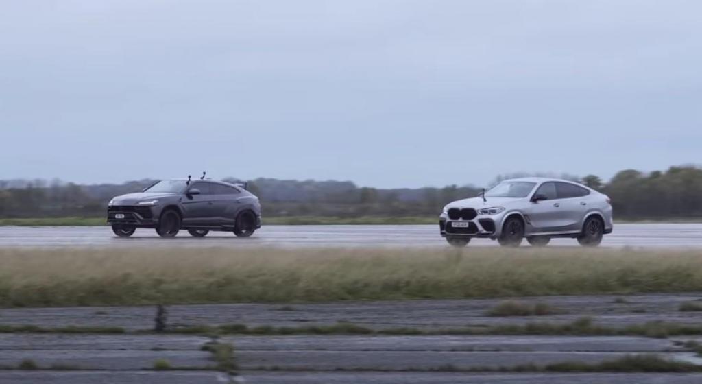 BMW X6M Competition vs. Lamborghini Urus (reprodução YouTube «Carwow»)