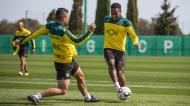 Jovane Cabral e Tabata no treino do Sporting (Sporting CP)
