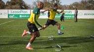 João Mário e João Pereira no treino do Sporting (Sporting CP)