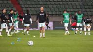 Seleção de Portugal em aquecimento para o jogo com Luxemburgo, com Cristiano Ronaldo em primeiro plano (Olivier Matthys/AP)