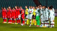 Luxemburgo-Portugal no momento dos hinos nacionais, com Cristiano Ronaldo a incentivar os colegas de equipa (José Sena Goulão/LUSA)