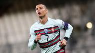 Cristiano Ronaldo festeja o 1-2 que ditou a reviravolta no Luxemburgo-Portugal, aos 51 minutos (Olivier Matthys/AP)