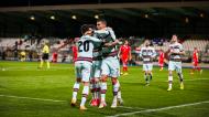 Portugal festeja o golo de Cristiano Ronaldo após assistência de João Cancelo no Luxemburgo (José Sena Goulão/LUSA)