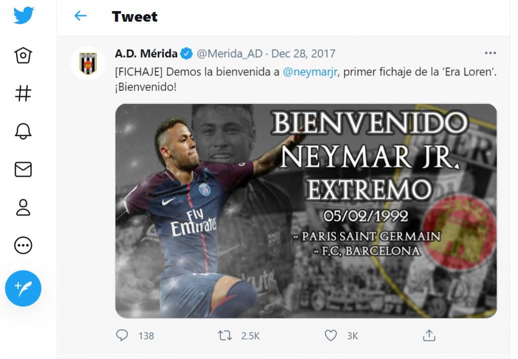 Neymar no Mérida