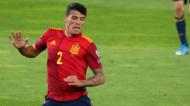 Pedro Porro na estreia pela seleção A de Espanha, contra a Geórgia, no apuramento para o Mundial 2022 (Zurab Tsertsvadze/AP)