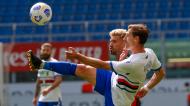 Samu Castillejo e Adrien Silva no Milan-Sampdoria (Antonio Calanni/AP)