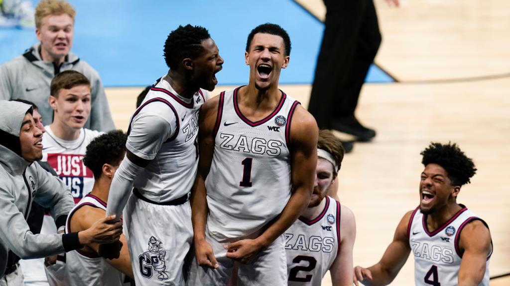 Jalen Suggs colocou os Gonzaga Bulldogs na final do universitário norte-americano com um triplo incrível (Michael Conroy/AP)