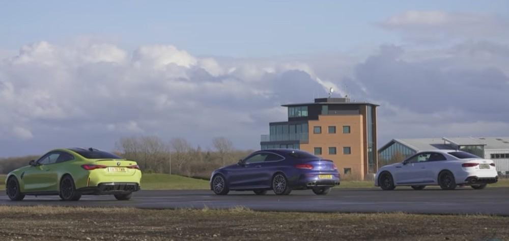 Drag race BMW M4 Vs Mercedes-AMG C63 e Audi RS5 (Reprodução Youtube Carwow)