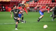Penálti de Bruno Fernandes fechou vitória do Manchester United ante o Granada (Miguel Angel Molina/AP)