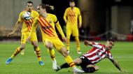 Antoine Griezmann e Dani García no Athletic-Barcelona, da final da Taça do Rei (Julio Munoz/EPA)