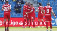 Sevilha festeja um dos golos na vitória ante a Real Sociedad (Juan Herrero/EPA)
