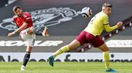 Bruno Fernandes no Manchester United-Burnley (Martin Rickett/EPA)