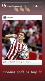 Bruno Fernandes critica Superliga Europeia no instagram