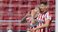 Angel Correa festeja golo no Atlético de Madrid-Huesca (Juanjo Martín/EPA)