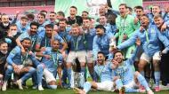A festa do City depois da conquista da Taça da Liga (foto EPA/ANDY RAIN)