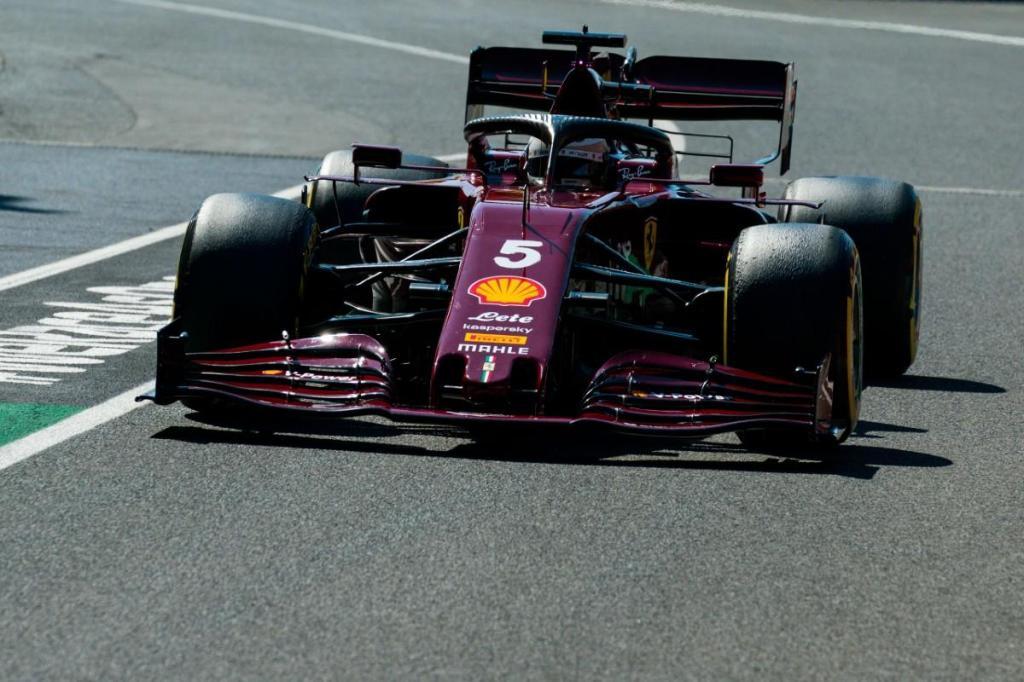 Sebastian Vettel com o Ferrari do GP 1.000 na F1