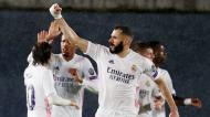 Karim Benzema festeja golo no Real Madrid-Chelsea (Juanjo Martin/EPA)