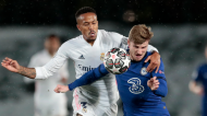 Éder Militão e Timo Werner no Real Madrid-Chelsea  (Bernat Armangue/AP)
