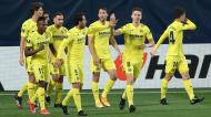 Liga Europa: Villarreal festeja golo ante o Arsenal (Alberto Saiz/AP)