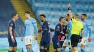 Di María expulso no Manchester City-PSG (Dave Thompson/AP)