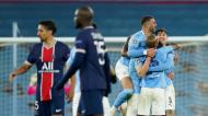 Manchester City festeja o apuramento para a final da Liga dos Campeões, depois de vencer o PSG (Dave Thompson/AP)