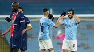 Aguero e Mahrez festejam o apuramento do Manchester City para a final da Liga dos Campeões, depois de vencer o PSG (Dave Thompson/AP)