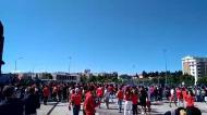 Os cânticos dos adeptos do Benfica junto ao Estádio da Luz