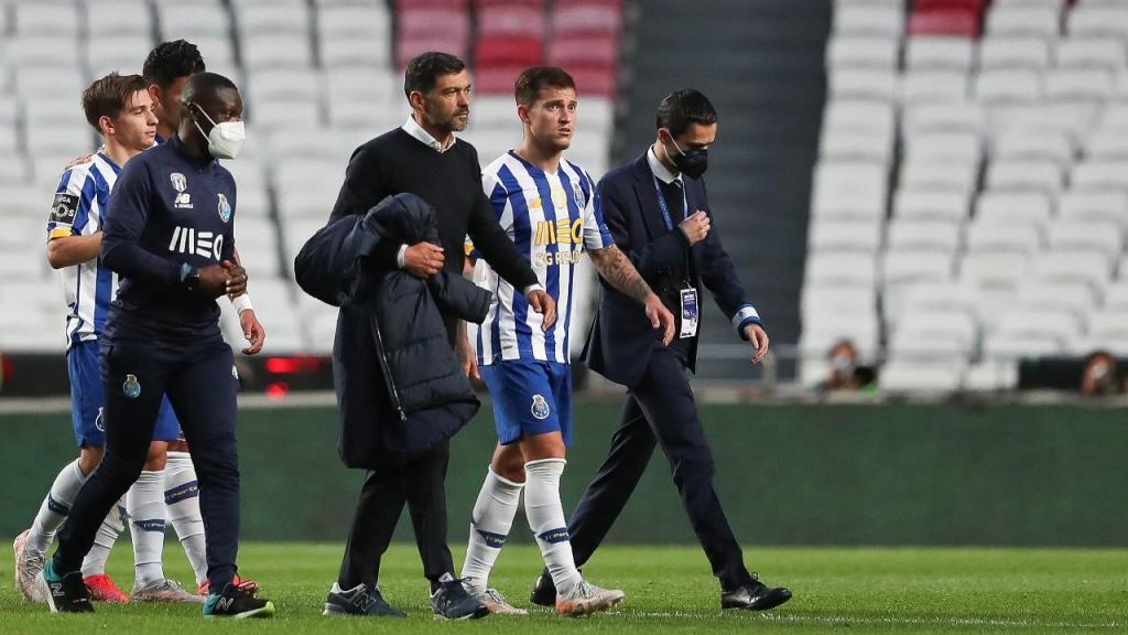 Sérgio Conceição e Otávio no final do empate entre Benfica e FC Porto (Mário Cruz/LUSA)