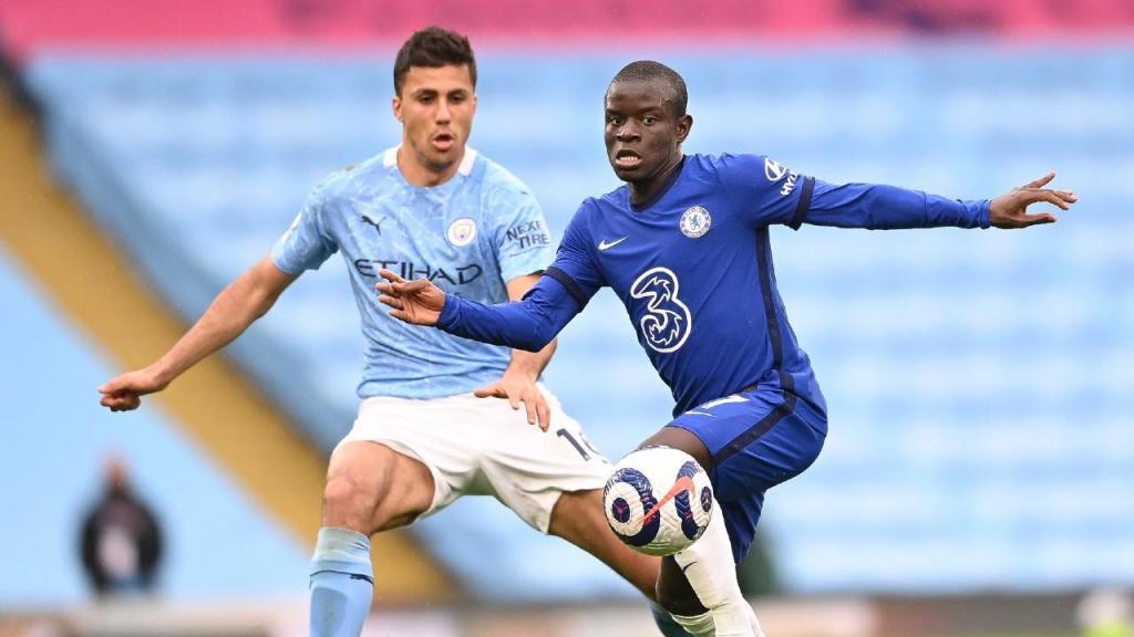 Manchester City-Chelsea: duelo entre Kanté e Rodri (Laurence Griffiths/EPA)