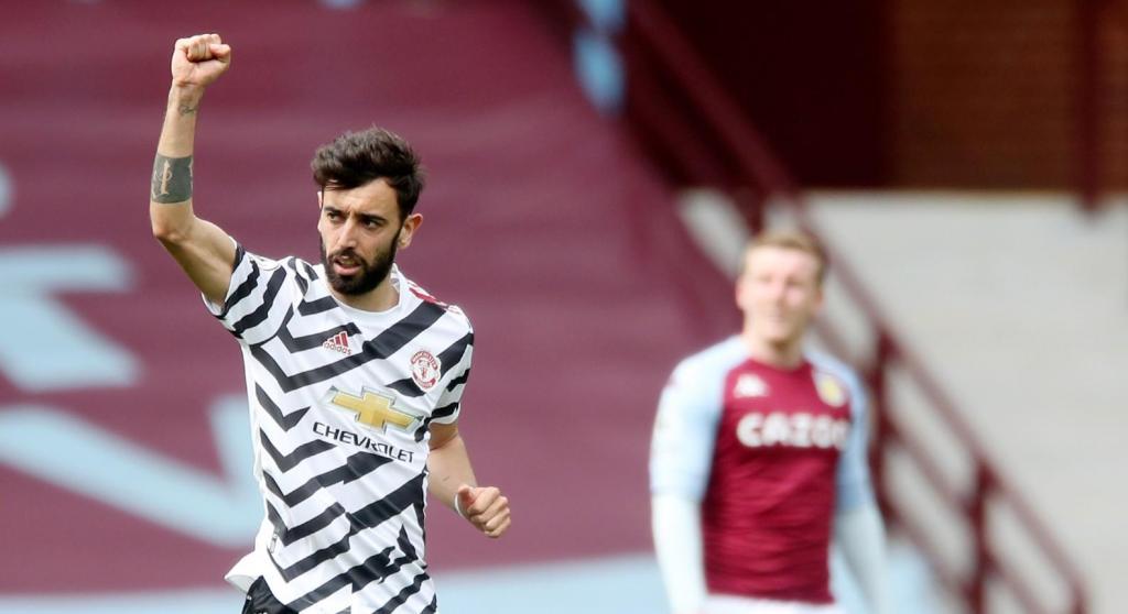 Bruno Fernandes festeja o golo apontado no Aston Villa-Manchester United (Nick Potts/EPA)
