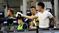Lautaro Martínez desentendeu-se com Antonio Conte ao ser substituído no Inter-Roma (Luca Bruno/AP)