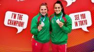Teresa Portela e Joana Vasconcelos com a medalha de bronze da Taça do Mundo (FP Canoagem)