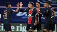 Neymar festeja o 1-0 no PSG-Reims (Christophe Petit Tesson/AP)