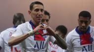 Di María festeja golo inaugural no Brest-PSG (Thibault Camus/AP)