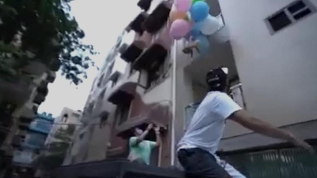 Cão voa com balões de hélio