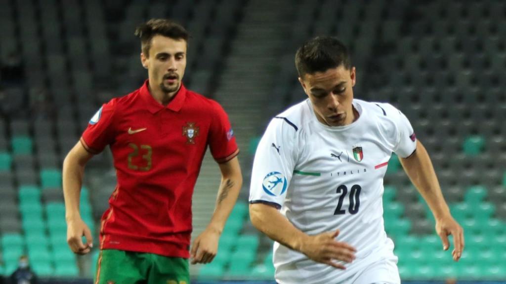 Euro sub-21: Raspadori e Fábio Vieira no Portugal-Itália (Sandi Fiser/EPA)