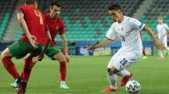 Euro sub-21: Raspadori contra Diogo Queirós e Fábio Vieira no Portugal-Itália (Sandi Fiser/EPA)