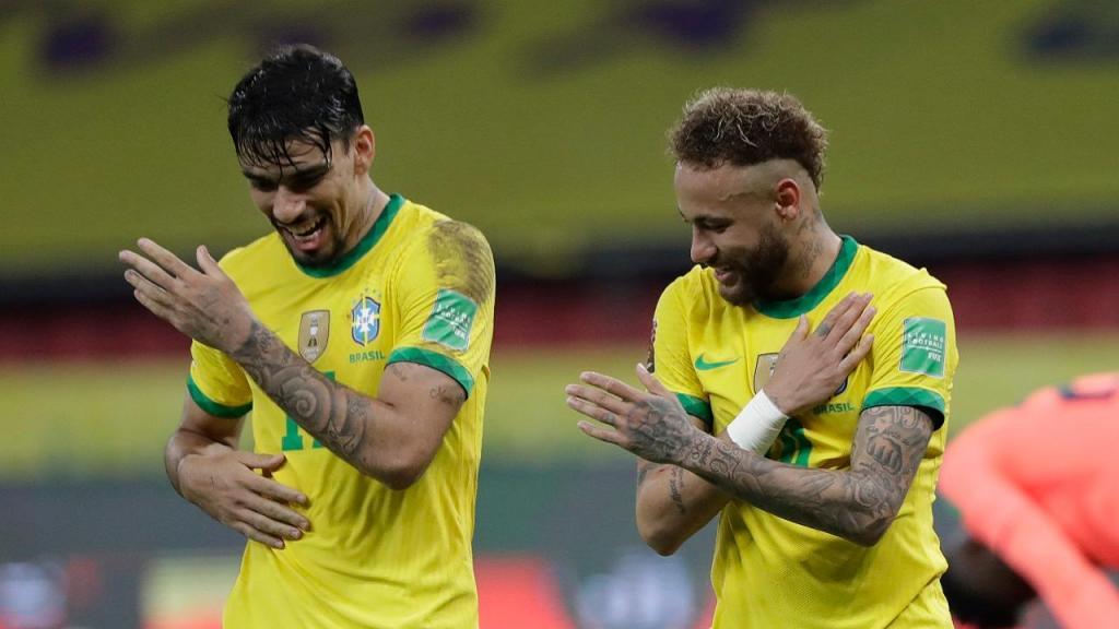 Neymar e Lucas Paquetá (AP Photo/Andre Penner)