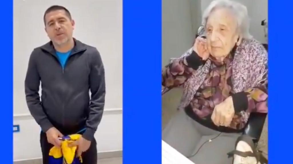 A surpresa de Riquelme a uma adepta do Boca com 104 anos (twitter)