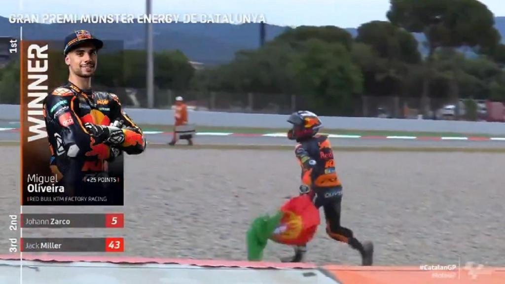 O momento em que Miguel Oliveira foi buscar a bandeira portuguesa